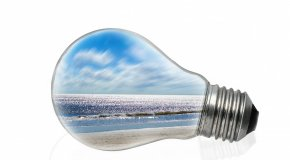 Light bulb with view of ocean inside