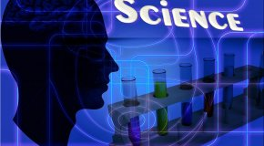 Silhouette of head with word science and test tubes