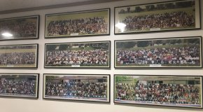 Framed panoramic photos on the wall