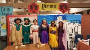 Students in Renaissance costumes