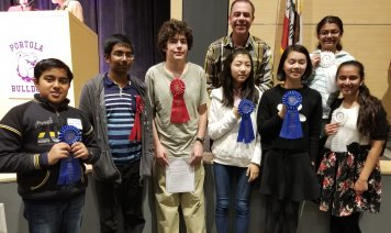 Mr. Evans with students at Science Fair