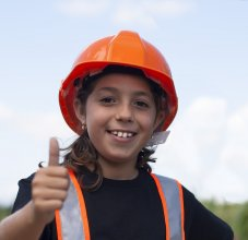 Girl in hard hat